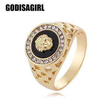 New Fashion Gold and Silver Colors Classic Men's Punk Style Hip Hop Ring Lion Head males man Finger rings for men women Size7-12