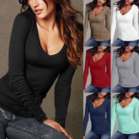 Women Casual Long Sleeve V Neck Solid Plain Top T-Shirt _ 10298