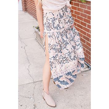 Carlile Bohemian Midi Skirt, Tan Mix