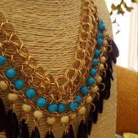 Bohemian style Tassels necklace Drops beads Vintage Gold plated choker Statement necklace
