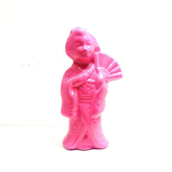 neon  geisha statue, ceramicfigurine, hot pink, upcycled home decor, asian, pop art, collectible, kitsch