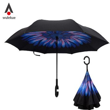 drop shipping windproof reverse folding double layer inverted chuva umbrella self stand rain protection c hook hands for car