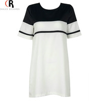 CHOIES Black and White Color Block Short Sleeve Back Zipper Women Summer Fashion Brand Simple Casual Loose Mini Shift Mini Dress