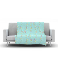 "Emma Frances ""Falling Florals"" Blue Aqua Fleece Throw Blanket"