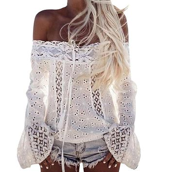 SHIRT Sexy White Lace Blouse Shirt Women Fashion Off Shoulder Top Slash neck Flare Sleeve Female Blouses Summer Hollow Out Tops
