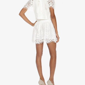 LOVER Heather Mock Neck Flare Lace Dress | Shop IntermixOnline.com