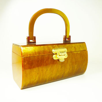 Vintage Box Purse Lucite Marbled Golden Amber Tortoise Hinged Hong Kong 1950s Accessories