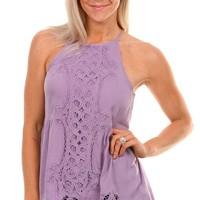 Lilac Crochet Sleeveless Top