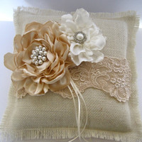 Ring Bearer Pillow Ivory Burlap and Champaign Lace with Champaign and Ivory Flowers and  Pearl and Rhinestone Accents