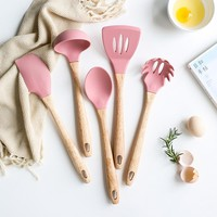 Pastel Silicone and Wood Kitchen Utensils