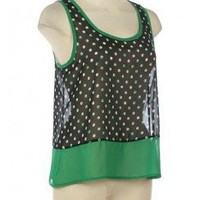 POLKA DOT PRINT TANK TOP-Casual Tops-Casual Tops,Cute Casual Tops,trendy casual tops,Women's Casual Tops,Ladies Casual Tops,long casual tops,casual knit top