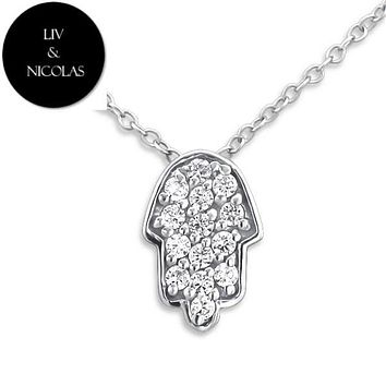 Solid 925 Sterling Silver White Cubic Zirconia Hamsa Hand Necklaces