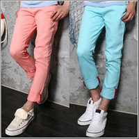 Fashion Men New Style Slim Fit Color Casual Pants