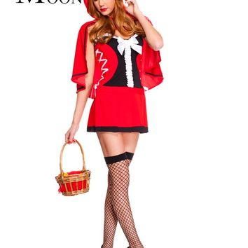 MOONIGHT Ladies Little Red Riding Hood Fancy Dress Red Girls Fairy Tales Cosplay Outfit Women's Themed Party Halloween Costumes