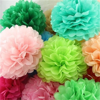 5pcs  10 inch (25cm) Tissue Paper Pom Poms Wedding Party Decor Artificial Paper Flower For Wedding Decoration /Garden Supplies
