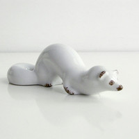 White Porcelain Stoat - Soviet vintage animal figurine - winter home decor - Ukrainian souvenir - marten, ferret or weasel - made in USSR