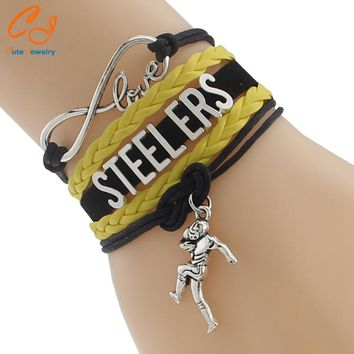 Infinity Love Steelers Football Team Bracelet Customize Pittsburgh black yellow Sport wristband friendship Bracelets