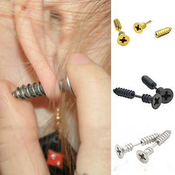 Unisex Stylish Stainless Steel Nail Whole Screw Stud Earrings + Gift Box