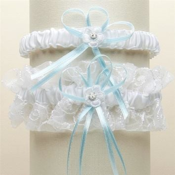 A Vintage Blue White Tulle Two Piece Wedding Garter Set