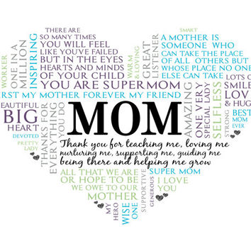 Mom Heart Word Art.  Unique Mothers Day Gift