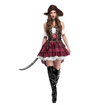 2018 New Sexy Women Pirate Costume Halloween Fancy Party Dress Carnival Perfor Mance High Quality Adult Pirate Cosplay Costumes