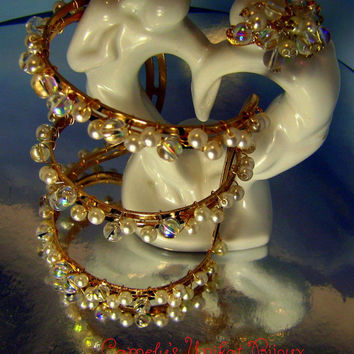CLEOPATRA Wedding Jewelry Set–handmade RING+ BRACELET, wire wrapped goldplated, Czech glass pearls, crystals