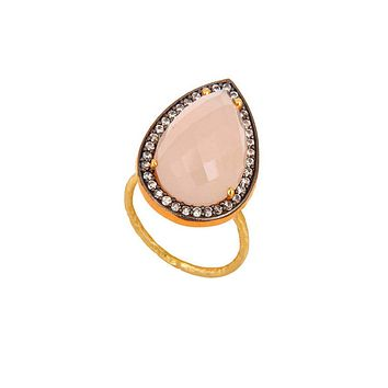 Halo Pear Cut Rose Quartz and White Topaz Pave Ring in Gold Vermeil