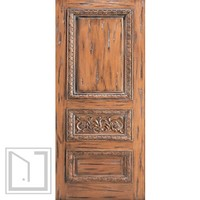 Tuscany Style Hand Carved Mahogany Single Door, scroll motif