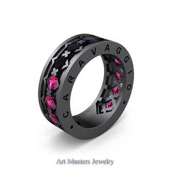 Caravaggio Mens Modern 14K Grey Gold Princess Black Diamond Pink Sapphire Blazer Wedding Band R313M-14GGPSBD