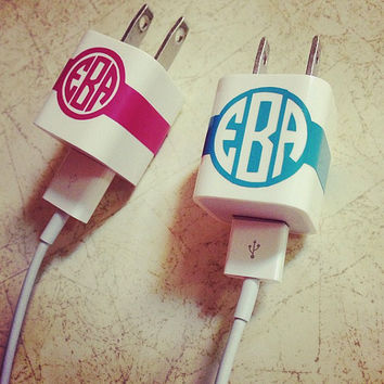 iPhone Charger Monogram Sticker in Circle by SunshineVinyl on Etsy