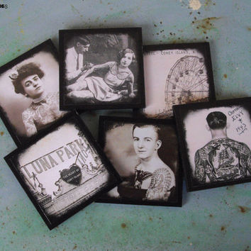 Vintage Tattoos coasters - set of 6 wooden coasters - ink, tattooed lady, rockabilly decor, tattoo art, black and white, vintage picture