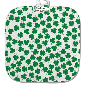 Find the 4 Leaf Clover Shamrocks White Fabric Pot Holder Hot Pad All Over Print