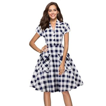 White and Blue Tartan clothing Vintage V Neck Front Pocket Plaid Tunic Midi Dress