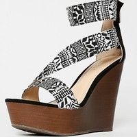Bamboo Wesley-09 Ankle Strap Tribal Wedges | MakeMeChic.com