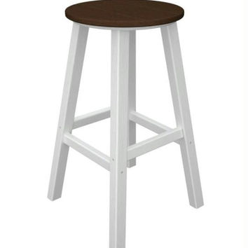 2 Bar Stools - Chocolate Brown Seat And White Legs