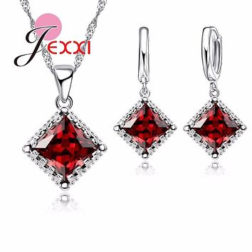 Jemmin Femlae Girl Best Gifts 925 Sterling Silver Chain Square CZ Pendant Necklace Drop Earrings