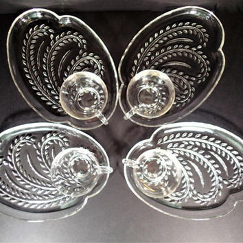 Mid Century Snack Luncheon set Federal Glass Homestead set of 4 in original display box.