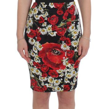 Dolce & Gabbana Multicolor Floral Stretch Sheath Gown Dress
