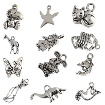 Tibetan silver beads charms Scorpion rabbit Dove Dolphin Cat pendants fit bracelets DIY jewelry making 10pcs