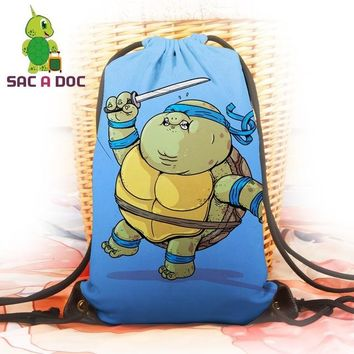 Anime Backpack School kawaii cute Teenage Mutant Ninja Turtles Backpack Chunky Leo Raph Maike Don TMNT Printing Travel Bag Women Men Casual Drawstring Bag AT_60_4
