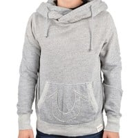 TRUE RELIGIONAPPLIQUE COTTON JERSEY HOODIE - GREY