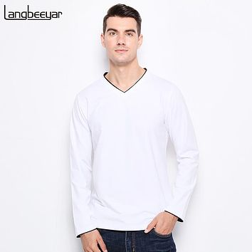 Men T Shirt Contrast Color Collar Slim Fit Long Sleeve T Shirts Men V-Neck Cotton Casual