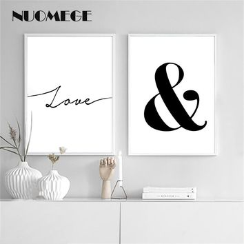 NUOMEGE Love Imagine Letter Nordic Wall Art Canvas Painting Posters And Prints Black White Wall Pictures For Living Room Decor