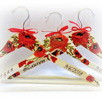 Set of 3 Floral Wedding Hanger Custom Bridal Hanger Bridesmaid Gift Personalized Bride Hanger Dress Hanger Bridal Shower Gift Poppies Hanger