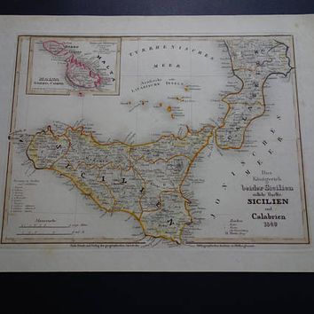 SICILY old map of Sicily and Calabria 1849 original antique hand coloured print of Italy Malta Gozzo Palermo vintage maps - 22x30c 10x12""