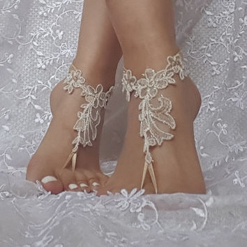 crystalline shining beige ivory lace barefoot, anklet, Beach wedding barefoot sandals, bangle, wedding anklet, free ship, anklet, bridal,