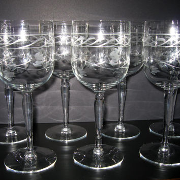 Vintage Etched Crystal Tall Wine Glasses Flower and Vine Mid-Century Goblets Set of Seven