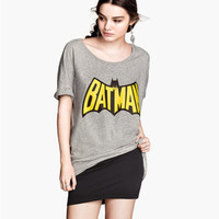 2014 New Summer Women Clothing Girls Cartoon Batman Printed With Batwing Sleeve Women Casual Cotton T Shirt Tops Tee in Stock -in T-Shirts from Apparel & Accessories on Aliexpress.com