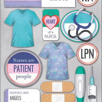 "medical cardstock stickers 5.5""x9""-nurses"
