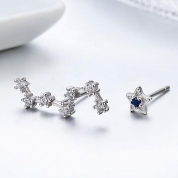 Cute 925 Sterling Silver Polaris & Dipper Stars CZ Stud Earrings For Women Children Girls Kids Jewellery Gift Orecchini Aros
